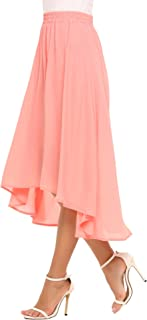 Summer Chiffon Maxi Skirt Long Flowy High Low Skirt for Women