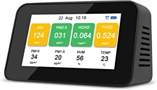 Draagbare multifunctionele luchtkwaliteitsmonitor,luchtkwaliteitstester voor HCHO/PM2.5/PM1.0/PM10/TVOC/AQI/temperatuur/vo...
