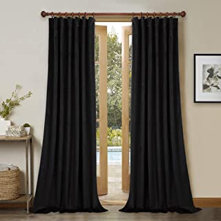 Blackout Thermal Insulated Velvet Curtains - Stylish Home Decor Thick Heavy Velvet Drapes Window Coverings for Home Theater/Front Sliding Door, Black, W52 x L108-inch Each Panel, 2 Pcs