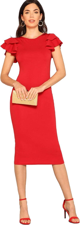 Romwe Women's Elegant Layered Ruffle Sleeve Stretchy Pencil Bodycon Party Dress