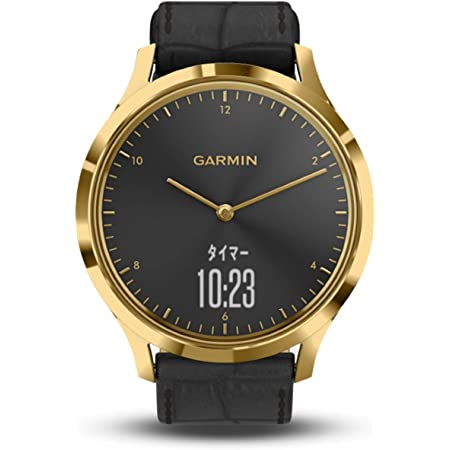 GARMIN(ガーミン) vivomoveHR Gold Black Leather スマートウォッチ 活動量計 防水 【日本正規品】