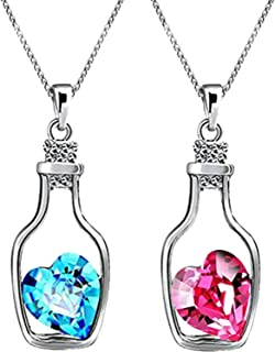 University Trendz Pink and Blue Crystal Bottle Heart Pendant/Locket for Lovers, Friends, Boys and Girls