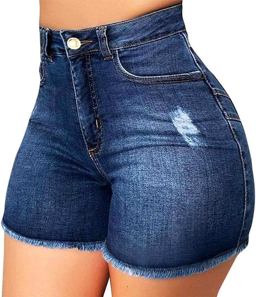 Depslee Women's Denim Shorts, Short Jeans with Stretch Frayed Frayed Hem, Summer Women's Denim Shorts hot Pants with Pockets (Z2-Dark Blue,X-Large)
