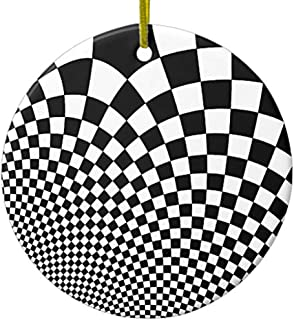 Diuangfoong Punk Warped Retro Checkerboard in Black and White Ceramic Ornament Circle