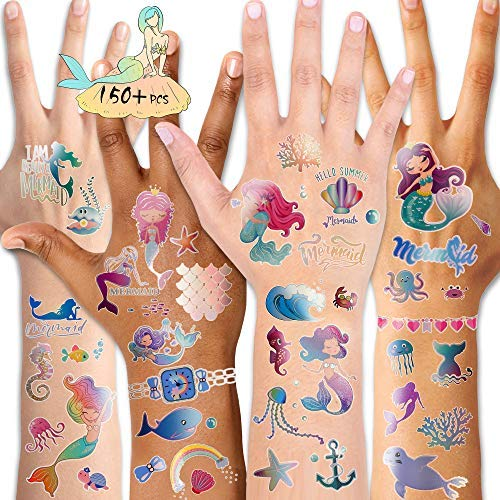 Mermaid Temporary Tattoos (150-pcs), Qpout Glitter Fake Mermaid Tattoos Women Body Art Body Stickers for Birthday Party Favor Supplies Goodie Bag Filler Great Party Accessories Gift