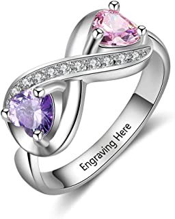 Engraved Simulated Birthstone Rings for Women Personalized Names Infinity Promise Rings for Her Custom Mother Jewelry