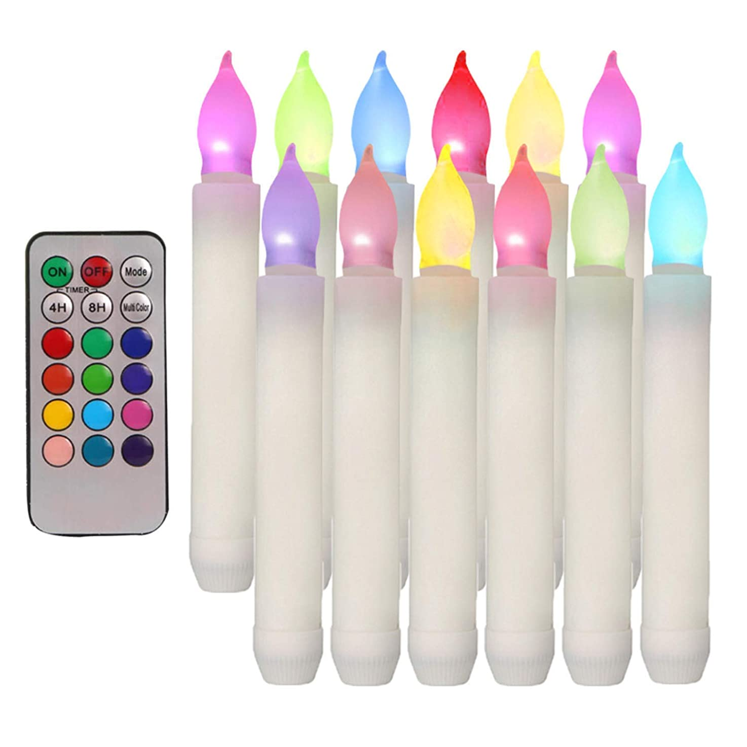 Houdlee Set of 12 Flameless Taper Candles with Remote Timer Flickering Color Changing Candles, LED Colored Taper Candles Battery Operated for Halloween, Wedding Party, Christmas,Candelabra