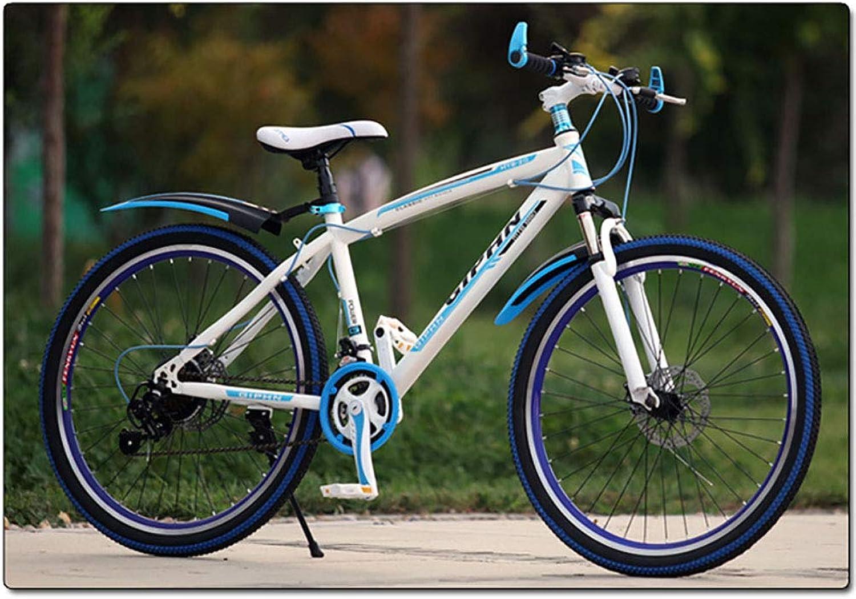 alta calidad y envío rápido 26 Pulgadas Unisexo Bicicleta de Montaña de suspensión 21 21 21 Velocidad Freno de Disco Doble Acero de Alto Cochebono Cabellera Dura Ciudad del Viajero Estudiante Bicicleta,azul  vendiendo bien en todo el mundo