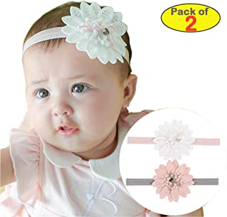 2 PCS Baby Girl Hairband Super Stretchy Headband Big Lace Petals Flowers Newborn Toddlers Hair Accessories