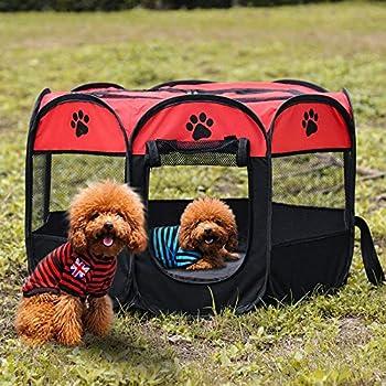 Tineer Portable Pet Cat Cage pour Chien Niche Chenil Tente Lit Parc d'enfant Camping de Plein air Pliable Maison de Caisse de Chien de Voyage Playpen (Medium: 90×90×60cm, Rouge)