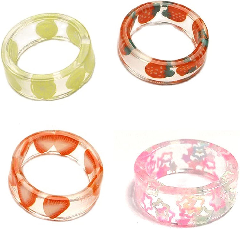 caiyao Sweet 4 Pcs Resin Fruit Rings Set Cute Pitaya Strawberry Apple Watermelon Lemon Grape Summer Knuckle Transparent Plastic Resin Ring Jewelry for Women Teen Girls