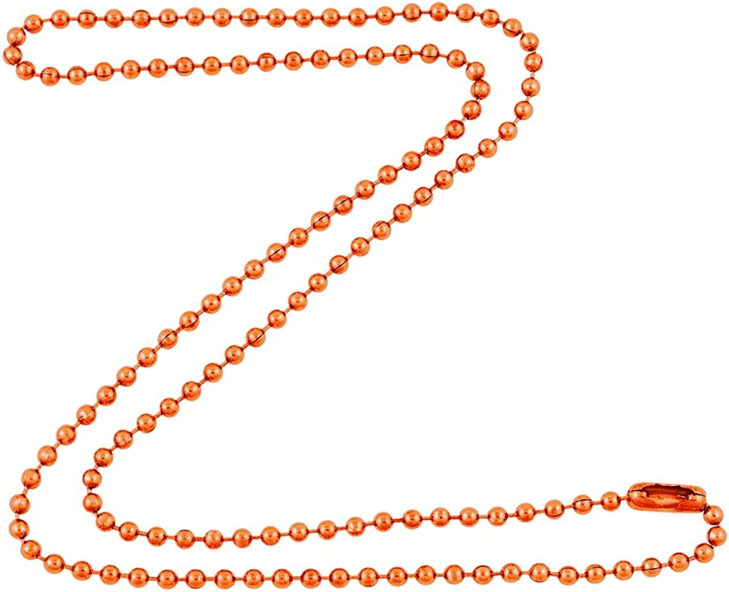 DragonWeave 2.4mm Bright Copper Ball Chain Necklace with Extra D