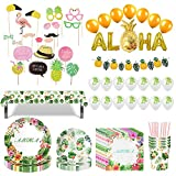 Amycute 117 Piezas Vajilla de Hawaianos Cumpleaños Adulto, Suministros Fiesta Aloha, Decoración de Diseño Flamenco Globos Banner de Piña para Fiesta de Tropical Piscina de Verano