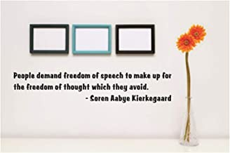 Leazmo Vinly Art Decal Words Quotes People Demand Freedom of Speech to Make Up for The Freedom of Thought Which They Avoid