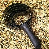 Pferdelinis 6 Capas para Caballos - Barra de Metal con Mango de Madera para la Limpieza de Suciedad Gruesa - Pestañas en Espiral Ideales para el Cambio de Pelo, depilación