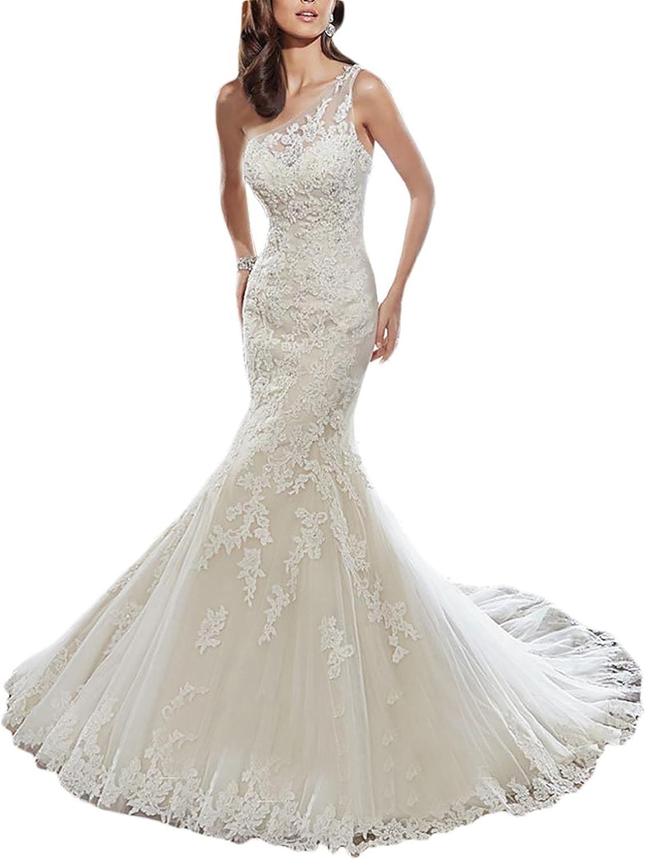CharmingBridal Women's Mermaid Bridal Gown One Shoulder Lace Wedding Dress WD020