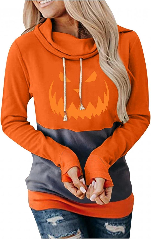 ONHUON Hoodies for Women,Womens Long Sleeve Drawstring Hoodie Halloween Graphic Casual Hooded Sweatshirt Pullover Tops