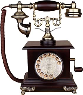 Retro Telephone Retro Ringing Tones Antique Telephone American Vintage Household Oak Rotating Dial The Number Telephone @ (Color : A)