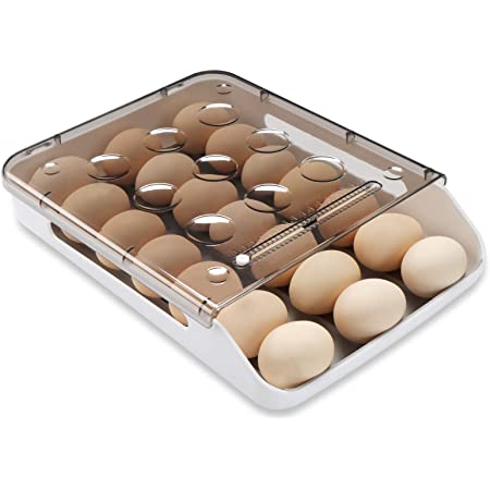 Qmpro Egg Holder Auto Scrolling Down for Refrigerator, Smart Stackable Antislip Deviled Egg Tray Food Container with Lid and Handle,Clear Plastic 21 Eggs (Grey Groove)