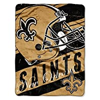 "Officially Licensed NFL New Orleans Saints ""Deep Slant"" Micro Raschel Throw Blanket, 46"" x 60"", Multi Color"
