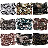 VANCROWN 9PCS & 6PCS Multifunctional Stretchable Sport & Casual Headwear, Headband Scarf Bandanna Headwrap Mask Neckwarmer & More 12-in-1