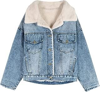 SCOFEEL Women's Warm Sherpa Lined Faux Fur Collar Boyfriend Style Denim Jean Jacket