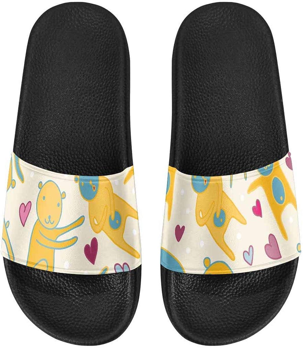 InterestPrint Women's Casual and Lightweight Slipper Sandals for Home Cute Teddy Bear