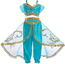 Aautoo Princess Jasmine Costume for Girls Princess Cosplay Halloween Party Dress Up