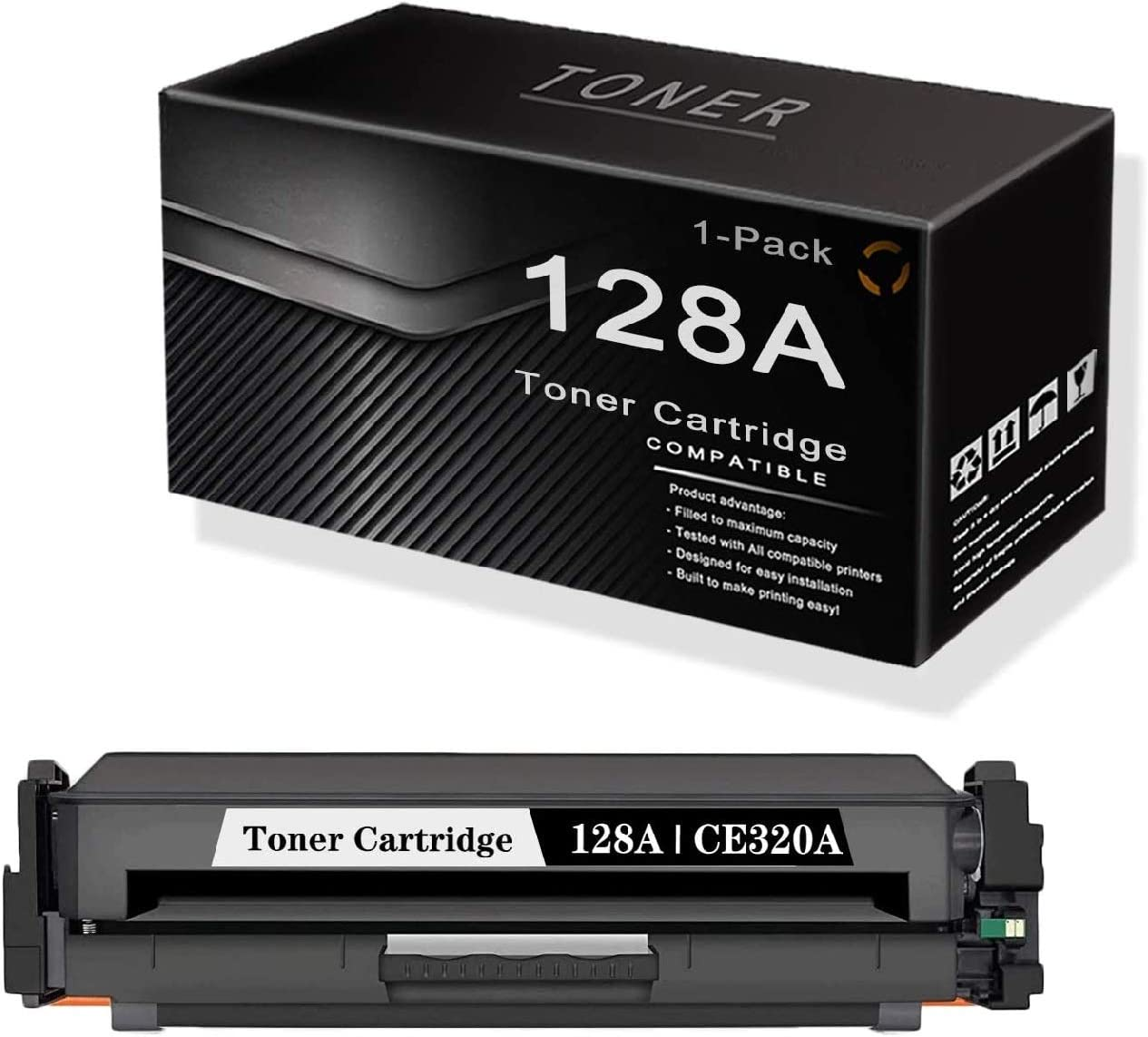 Black 128A   CE320A (1-Pack) Compatible Remanufactured and Replaceable for HP Color Laserjet CP1525n CP1525nw CM1415fn MFP CM1415fnw MFP Printers Toner.