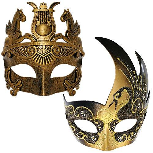 Gold/Black Swan Women Mask & Gold Roman Warrior Men Mask Venetian...