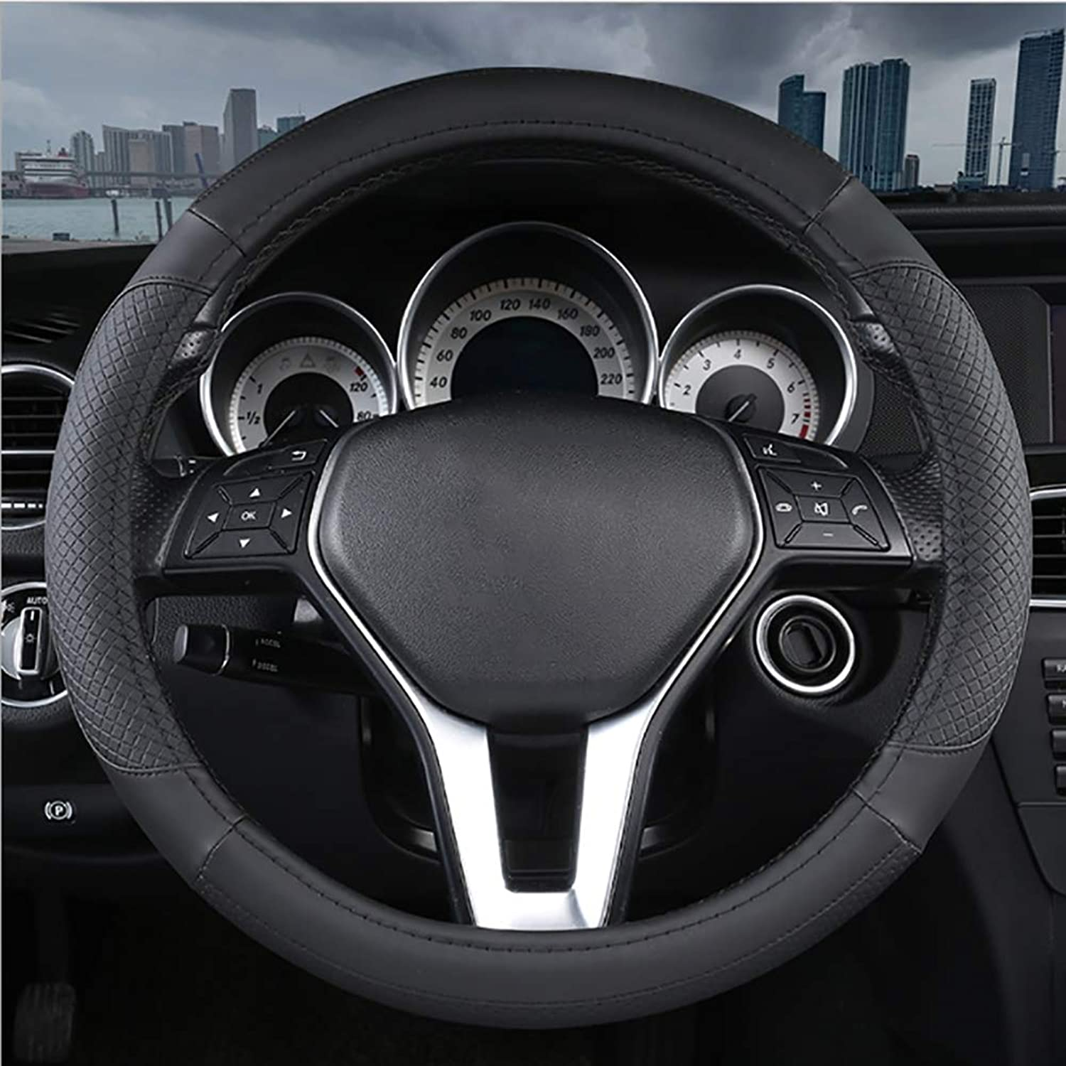 Car Steering Wheel Cover Leather, Comfortable Wear Resistant NonSlip Steering Cover, Diameter 3650 CM 14.219.7 Inch, for Truck, SUV, Cars, Four colors Optional