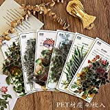 BLOUR Retro Floral Green Plant Stickers Diario Scrapbook Decoración Papelería Etiqueta DIY Craft Label40pcs / Set