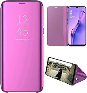 OPPO A31 Case, EabHulie Mirror Plating Hard PC +PU Leather Semi-transparent Standing View Case Cover for OPPO A8 / A31 Purple