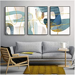 Kkglo 3 Piece Canvas Wall Art Nordic Abstract Blue Painting Golden Line Modern Poster Print Picture For Living Room Bedroo...