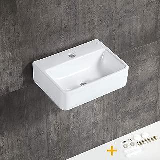 YEENODO 16 inch by 12 inch Ceramic Bathroom Sink, Small vessel Sink, Small Wall-hung Sink, 16