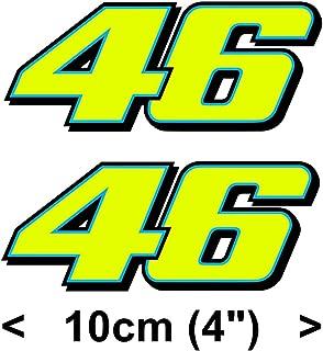 piggystickers Valentino Rossi Sticker Fluorescent Yellow 46 Number Vinyl Decal (2013) 4