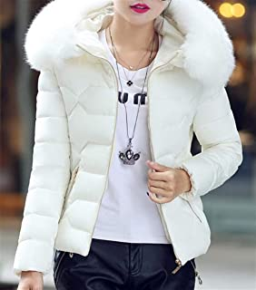 Womens Slim Fit Faux Fur Collar Winter Padded Quilted Short Hooded Down Jacket