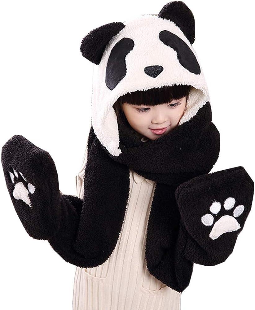 Kids Toddler Cute Panda Fleece Hat Gloves Winte 3 Boston Mall Factory outlet in Set Scarf 1