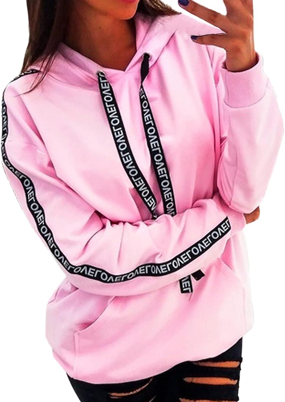 Wirziis Women's Fashion Hoodies & Sweatshirts to Wear with Legging Casual Pink/Red Loose Fitting Long Sleeve Sportshirt