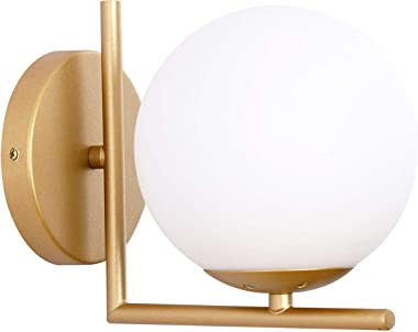 Wall Sconce Lighting, White Glass Globe, Gold Wall Lamp, Mid-Century Modern Style, Light Fixture for Bedroom, Living Room, Ba