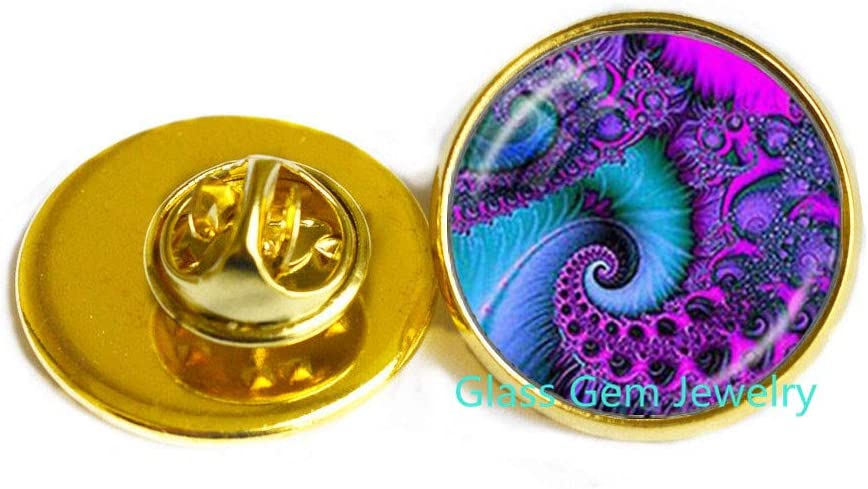 Fibonacci Spiral Brooch Shell Swirls Sacred Geometry Pin Golden Ratio Jewelry Fractal Charm Accessories Gift for Her,Q0295