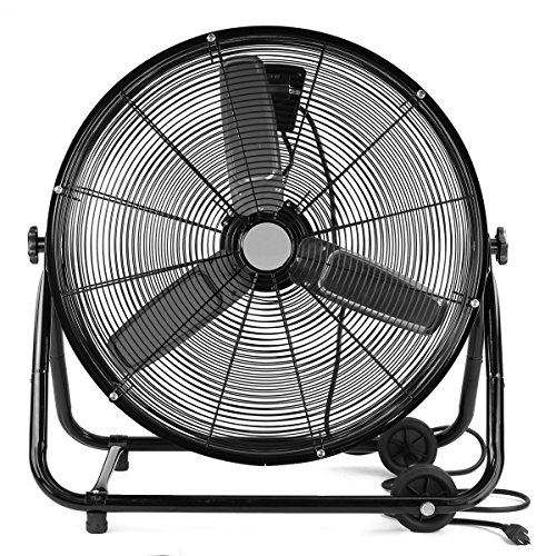XtremepowerUS Industrial 24' Inch High Velocity Floor Fan Rolling Drum Shop Fan Garage Adjustable Speed Air Flow with Built-in Wheel