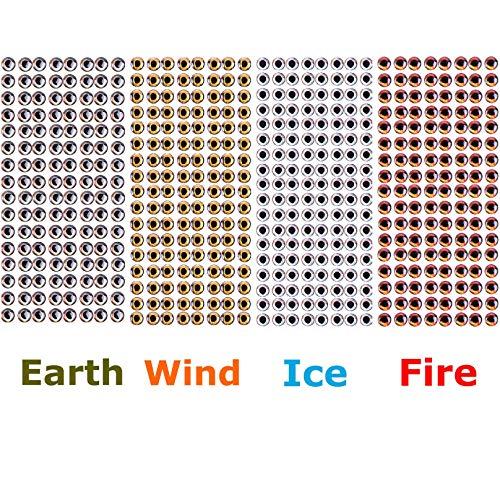 MAXIMUMCATCH Fischköder, 4D Fischaugen, 4D Lure Eyes, Fliegenbinden Material, 8 Größe(3mm-15mm), 4 Farbe pro Packung (10mm(Ice, Fire, Wind, Earth))