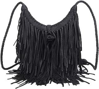 Women Tassel Shoulder Bag PU Leather Bohemian Fringed Crossbody Handbag Vintage Messenger Bags