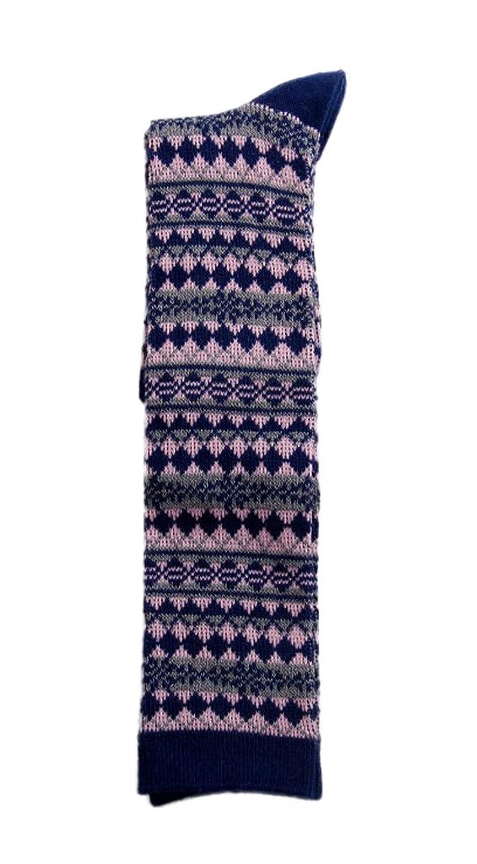 (ビグッド)Bigood ハイソックス レディースソックス シンプル 復古 くつ下 女性用 ひざ 靴下 カジュアルソックス ソックス スポーツソックス ひし形柄 秋冬 美脚 ブルーとピンク