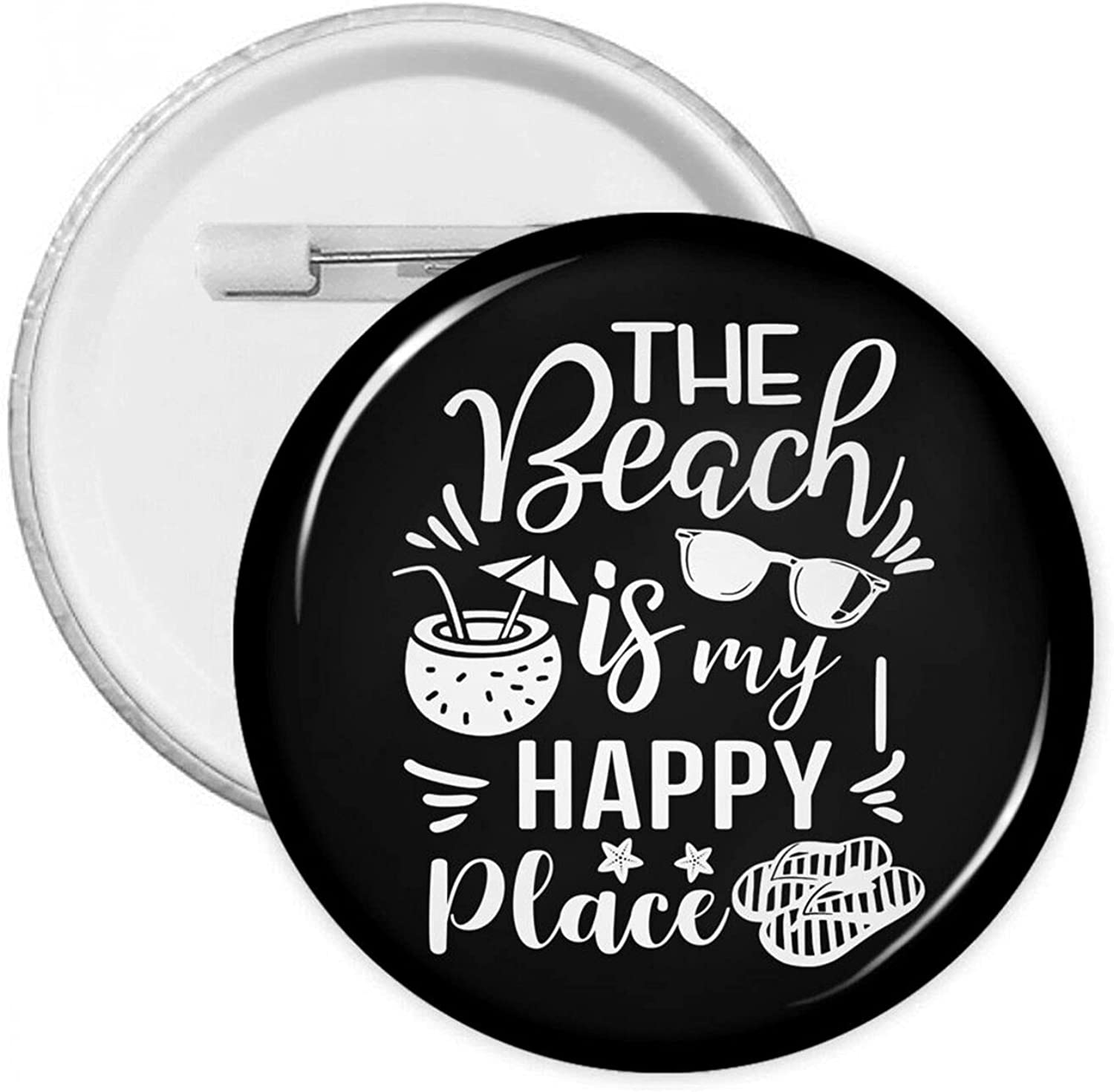 The Beach Is My Happy Place-3 Fashion Free shipping Novelty Badge Button Lowest price challenge Pins