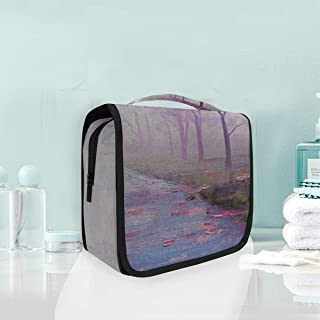 LEEZONE Hanging Toiletry Bag for Men & Women,Cosmetic Makeup Brushes Travel Organizer with Sturdy Hook-Autumn Tree Printing