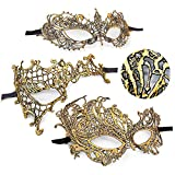 Masquerade Mask for Women Lace Carnival Mardi Gras Mask Prom Ball Bar Costume Party Supplies (3 Style Gold)