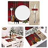 Bligli Christmas Placemat, Placemats for Dining Table Set of 4, Table Mats with Cotton Linen Heat Insulation Kitchen Dining Pads Christmas Placemats Decorations (4PACK Placemat)