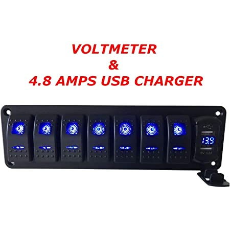 LED Backlit Blue Linkstyle Rocker Switch Panel 8 Gang 5 Pin 12//24V Aluminum Panel Toggle Switches ON//Off Pre-Wired Rocker Switch Panel for Car Truck Marine Boat RV